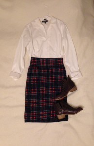 White long sleeved button down, Plaid LuLaRoe Cassie Skirt, Brown/Wine ankle boots