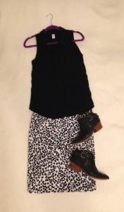 Black sleeveless button down, Leopard print LuLaRoe Cassie skirt, black ankle books