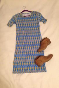 LuLaRoe Julia arrow patterned dress, tan fringe booties