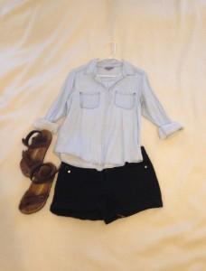Chambray button down, black shorts, brown Birkentstocks