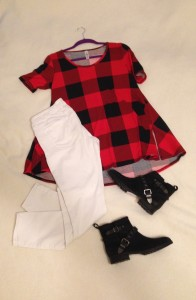 Buffalo check LuLaRoe Perfect Tee, white skinny jeans, black ankle boots