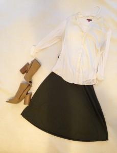 Ivory, tab sleeve button down; Olive green LuLaRoe Azure Skirt; tan booties