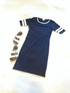 Black with white stripes LuLaRoe Julia dress, white Birkenstocks