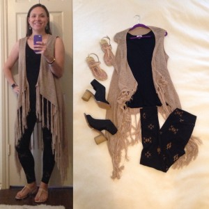Tan vest with fringe, black sleeveless tunic, black with tan pattern LuLaRoe leggings, nude sandals