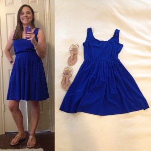 Cobalt blue sleeveless dress, nude sandals