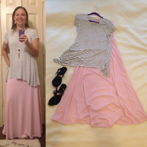 Black and white striped tee, Pink LuLaRoe maxi skirt, back sandals