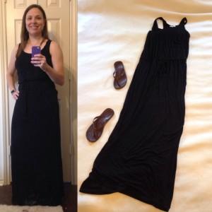 Black sleeveless maxi, brown flip flops