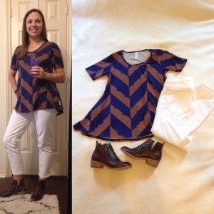 LuLaRoe Perfect T, cropped white jeans, burgundy booties