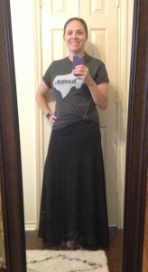 Home T, LuLaRoe black maxi skirt, flip flops