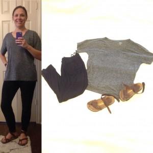 Grey boyfriend t-shirt, black joggers, Birkenstock sandals