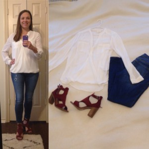 White/Ivory silk surplice blouse, skinny cropped jeans, Rust block heel sandals