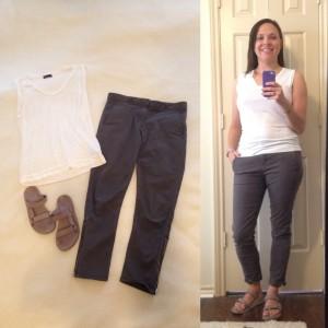 White sleeveless t-shirt, gray cropped skinny pants, Lavender tevas