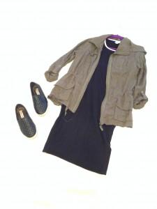 Olive green jacket, Black LuLaRoe Julia t-shirt dress, black slip ons