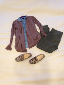 Brown open cardigan, denim sleeveless button down, olive green cropped skinny pants, python print driving moccasins