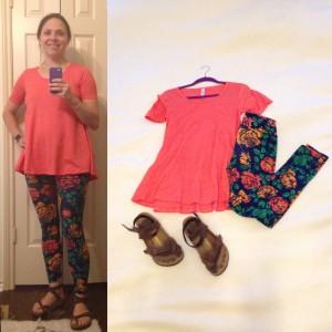 Orange LuLaRoe Perfect Tee, Floral LuLaroe leggings, Birkenstocks