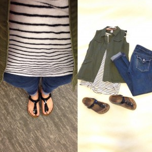 Black and white striped sleeveless shirt, Olive green vest, Cuffed skinny jeans, Birkenstock sandals