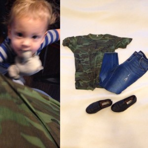 Sometimes the baby just gets in the picture...Camo t-shirt, cropped skinny jeans, black slip ons