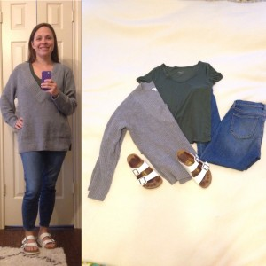 Grey v-neck pullover sweater, olive green v-neck t-shirt, cropped skinny jeans, White Birkenstock sandals