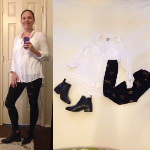 White tab sleeved button down, Black with camel Xs LuLaRoe Leggings, black booties