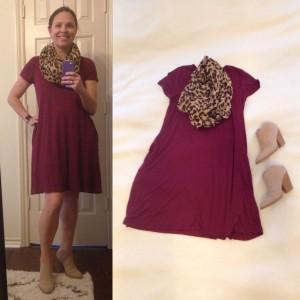 Burgundy t-shirt dress, leopard print infinity scarf, faux suede, mule booties