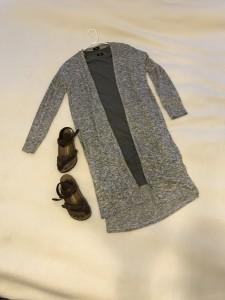 gray duster cardigan, gray t-shirt dress, brown Birkenstock sandals