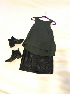 Olive green tank, faux mini skirt, black ankle boots