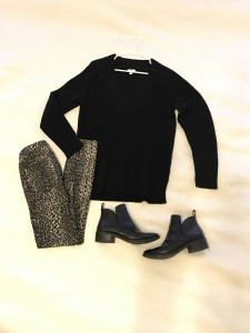 Black deep v-neck sweater, leopard pants/leggings, black ankle boots