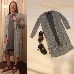 Gray t-shirt dress, gray duster cardigan, brown Birkenstock sandals