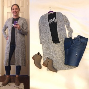 Gray graphic tee, gray duster cardigan, cropped skinny blue jeans, taupe ankle boots