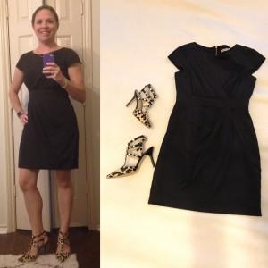 Fancy - black cocktail dress, leopard print and studded heels