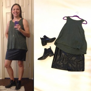 Olive green sleeveless tank, faux leather mini skirt, low heel, black booties