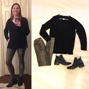 Black deep v-neck sweater, leopard skinny pants/leggings, black ankle boots