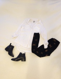 White tab sleeved button down, black LuLaRoe leggings with camel Xs, black ankle boots