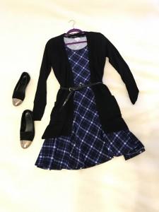 Black open cardigan, Plaid LuLaRoe Nicole dress, gold capped black flats