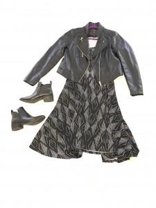 Black leather cropped jacket, Black and White LuLaRoe Nicole Dress, Black booties