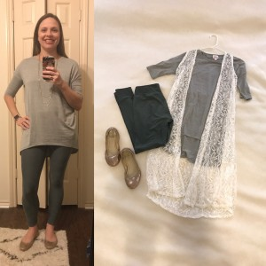 Gray LuLaRoe Irma Tunic, (White Lace LuLaRoe Joy Vest), olive LuLaRoe leggings, gold flats