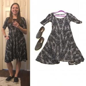 Black and white LuLaRoe Nicole Dress and black slip ons