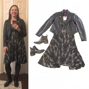 Black leather jacket, Black and white print LuLaRoe Nicole dress, black tights, black booties