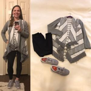 Gray and white draped cardigan, Gray and white striped LuLaRoe Irma Tunic, Black LuLaRoe leggings, Gray Brooks Chariot Sneakers
