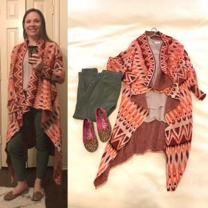 Long draped patterened cardigan, blush blouse, olive cropped skinny pants, leopard flats