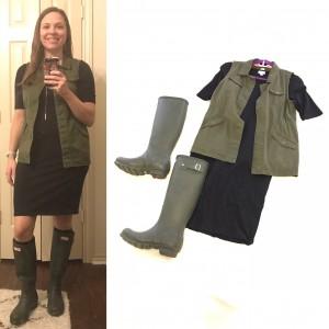 Black LuLaRoe Julia Dress, olive vest, dark olive Hunter Boots