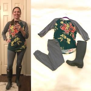 Floral and Gray LuLaRoe Randy T, Gray LuLaRoe leggings, Dark Olive Hunter Boots