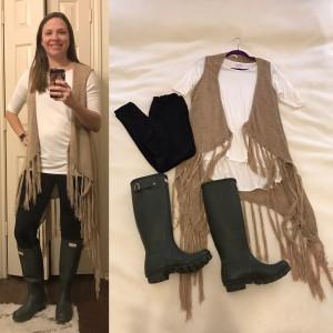 Ivory LuLaRoe Irma Tunic, Black LuLaRoe Leggings, tan sweater vest, Dark Olive Hunter boots