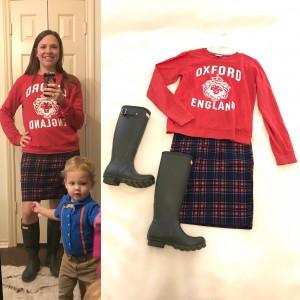 Graphic Red Sweatshirt, Plaid LuLaRoe Cassie Skirt, Dark Olive Hunter Boots
