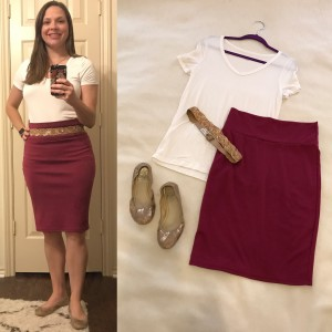 White v-neck tee, Burgundy LuLaRoe Cassie skirt, gold, glitter belt, gold ballet flats