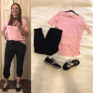 Pink LuLaRoe Irma Tunic, cropped black pants, Black and rose gold Brooks sneakers