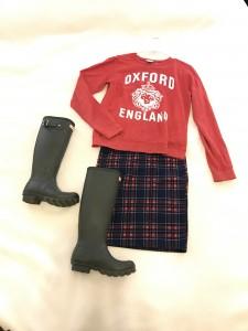 Red Graphic Sweatshirt, Plaid LuLaRoe Cassie Skirt, Dark Olive Hunter Boots