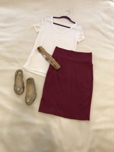 White v-neck tee, Burgundy LuLaRoe Cassie Skirt, gold & glitter belt, gold ballet flats
