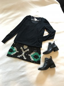 Black sweater over sequined mini dress with black booties