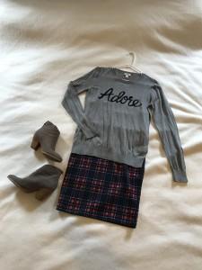 Gray graphic sweater, plaid LuLaRoe Cassie pencil skirt, gray booties